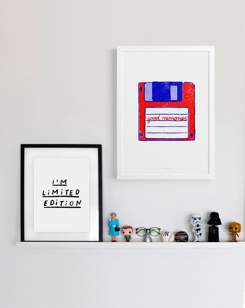 retro 80s computer floppy disk poster with a colorful graphic illustration of a floppy disk