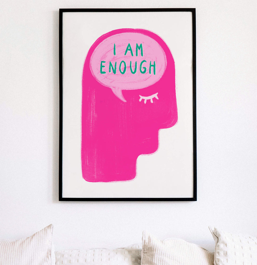 i am enough inspirational quotes for women empowerment wall art print