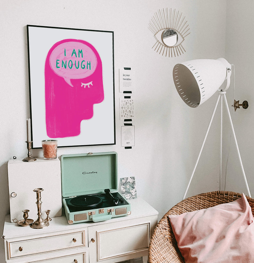 I am enough positive affirmation thoughts wall art poster for women bedroom