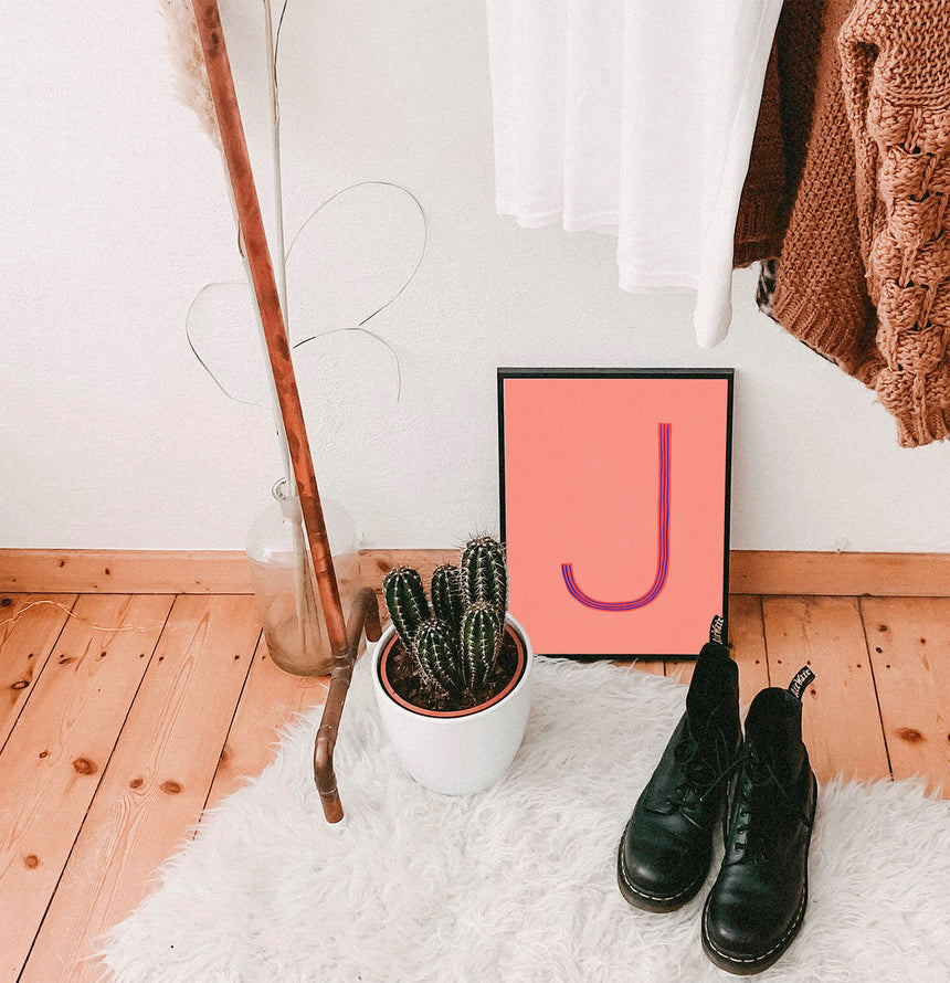 Initial letter wall art prints with letter J, alphabet art print with letter J in hipster boho modern home decor