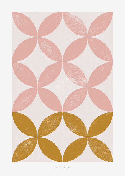 pink abstract floral print with geometric pattern