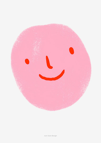 cute pink emoji poster with an illustration of a smiley face