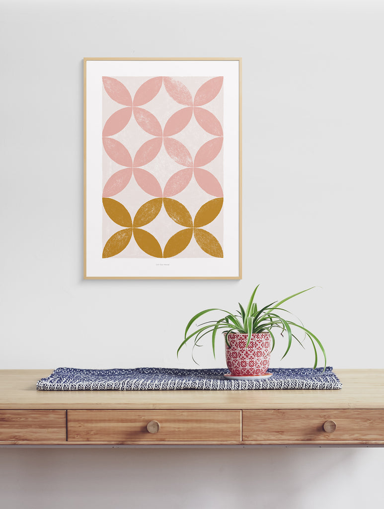 Pink floral geometric wall art, abstract living room prints
