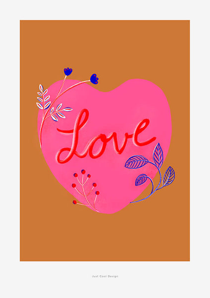 heart wall art, illustrated love poster with botanical details