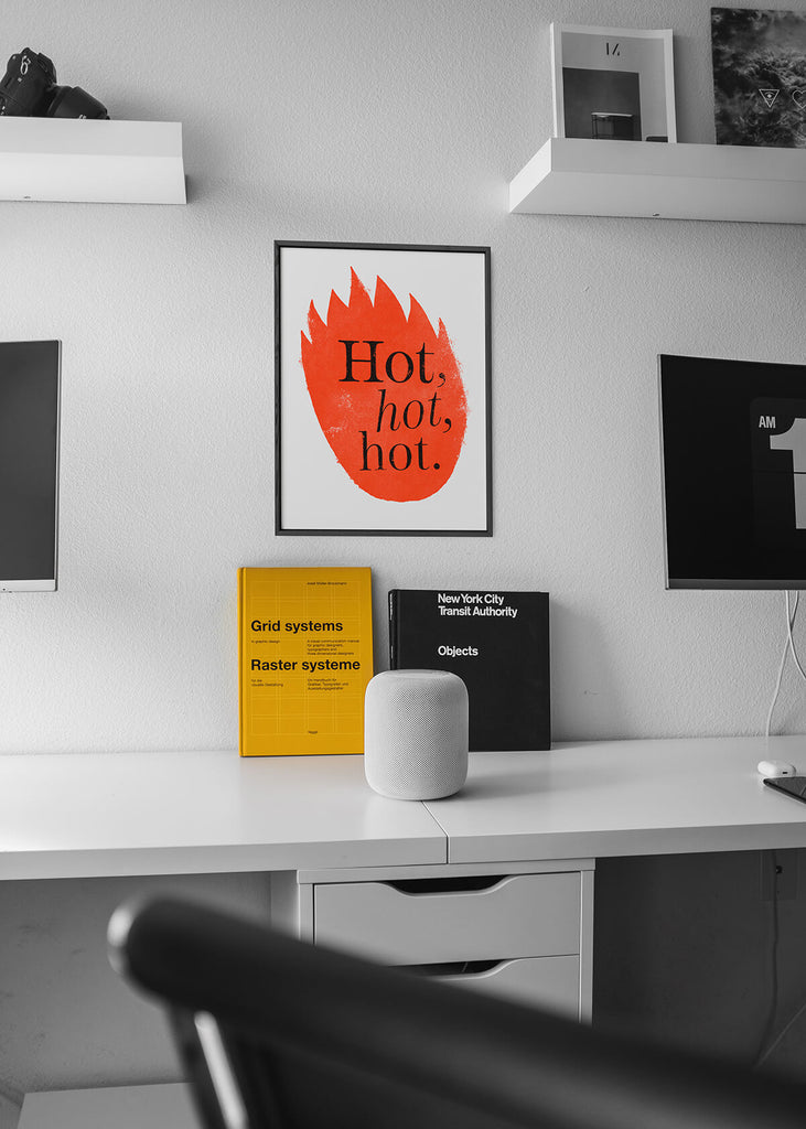 office artwork tribute to The Cure, Graphic red hot flames illustration print