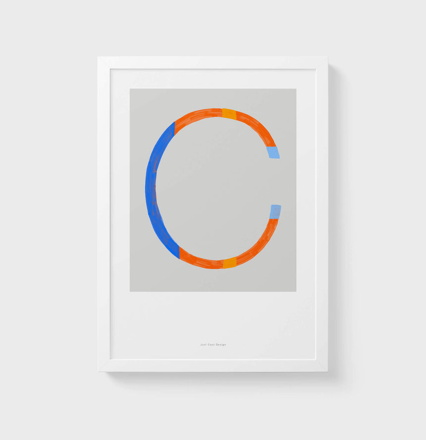 C letter wall art print. Colorful illustration initial poster print. Letter C poster.