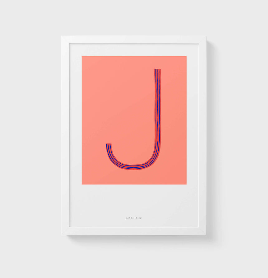 J letter wall art print. Colorful illustration initial poster print. Letter J poster.