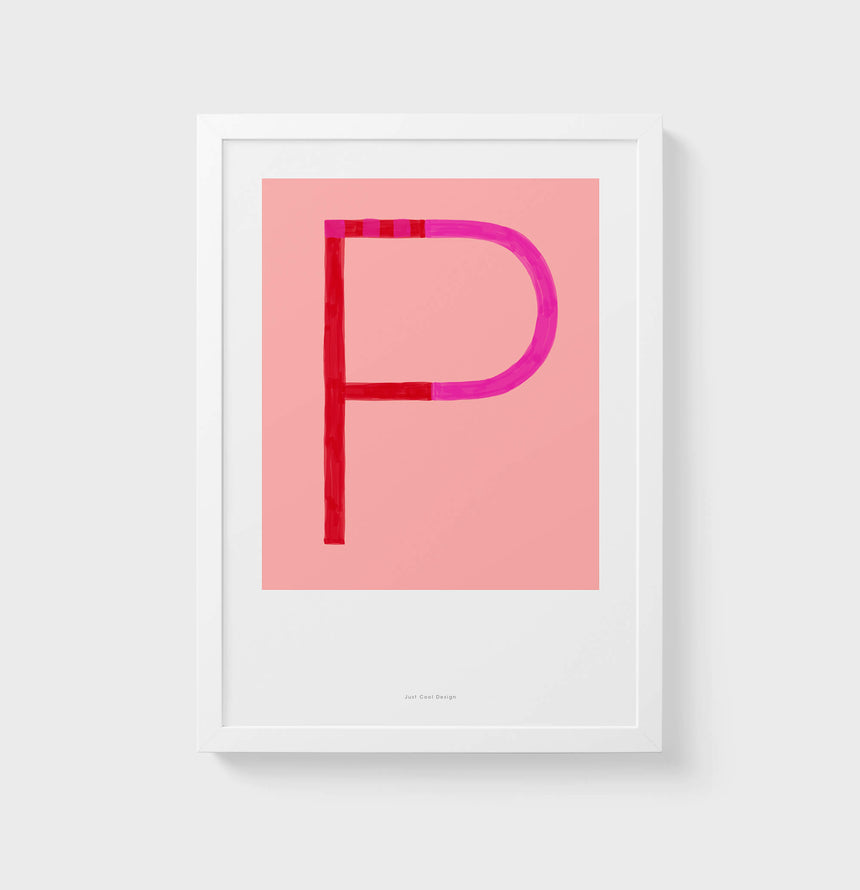 P letter wall art print. Colorful illustration initial poster print. Letter P poster.