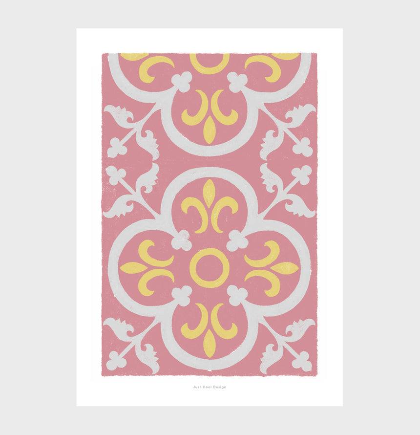 Posters Barcelona, floral geometric wall art bedroom prints inspired by modernist spanish tiles.