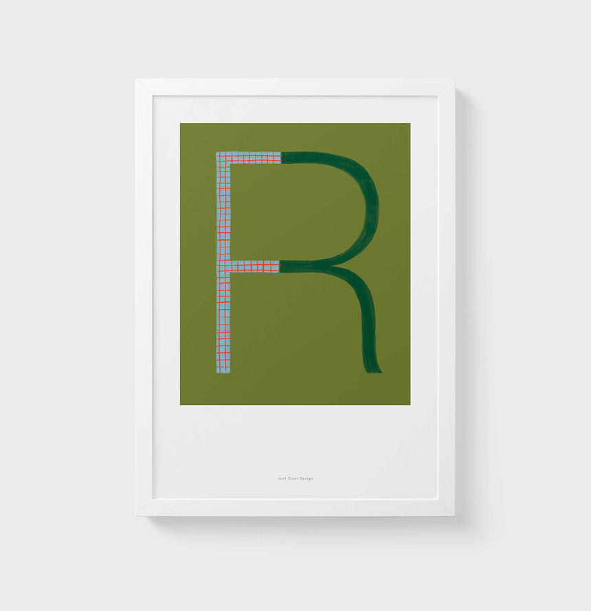 R letter wall art print. Colorful illustration initial poster print. Letter R poster.
