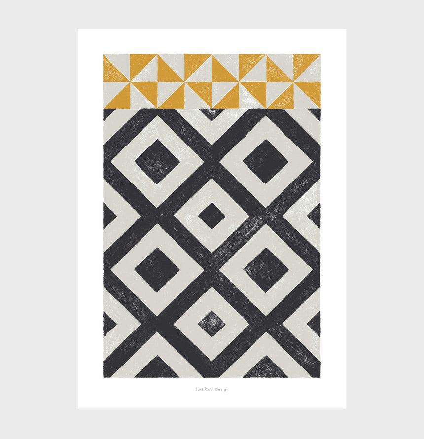 Black and white abstract posters with geometric shapes art. Bedroom wall prints with geometric pattern wall art inspired by modernist Barcelona hydraulic tiles.