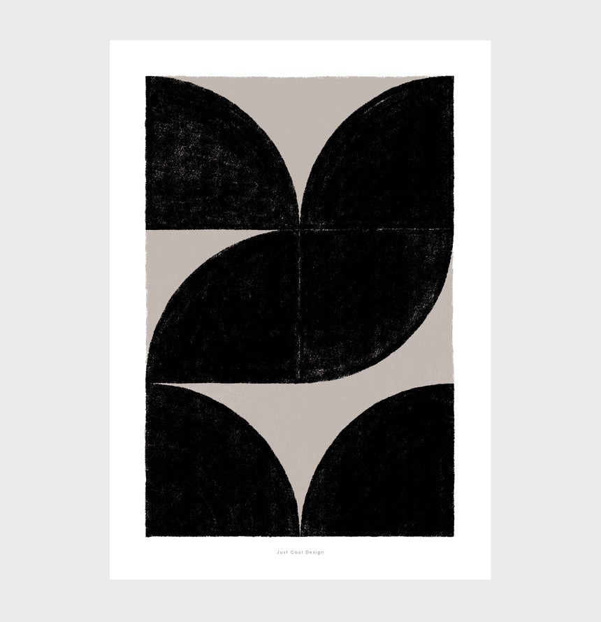 Geometric shapes art with abstract black and beige neutral colors for bedroom. Nordic abstract art and scandinavian art prints for sale.