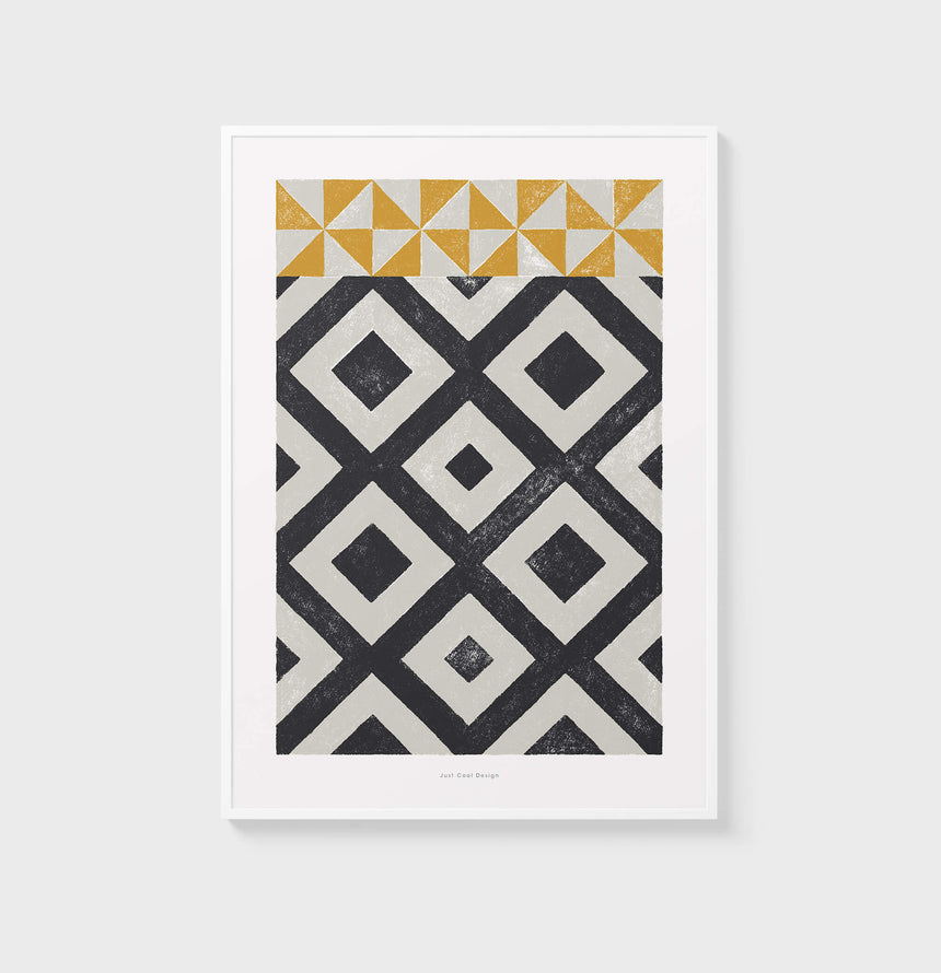 Large black and white abstract art. Living room posters with geometric pattern wall art inspired by modernist Barcelona hydraulic tiles.
