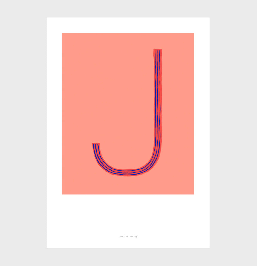 Letter J print initial poster. Colorful illustration J letter wall art print.