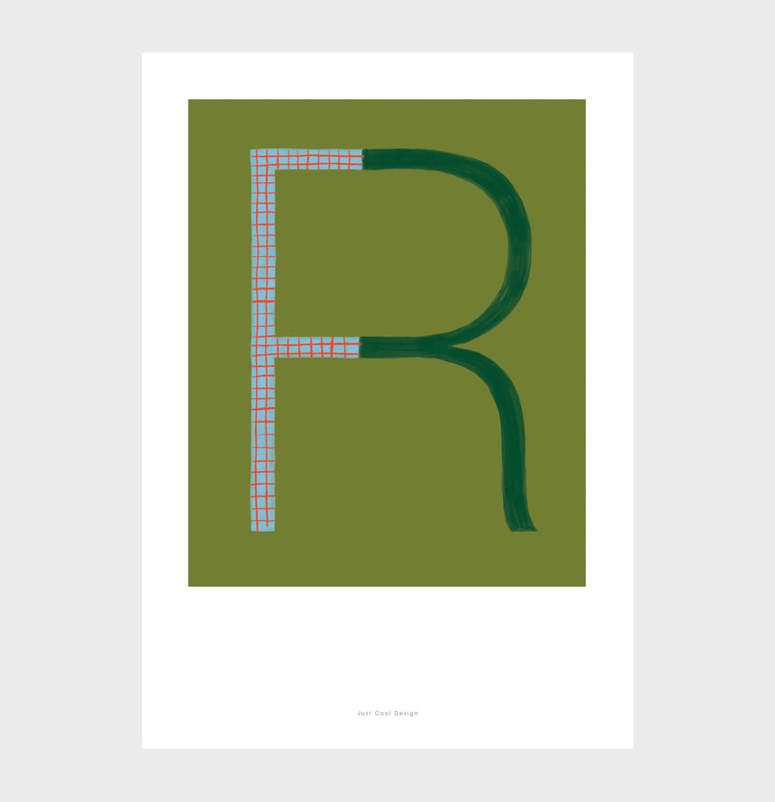 Letter R print initial poster. Colorful illustration R letter wall art print.