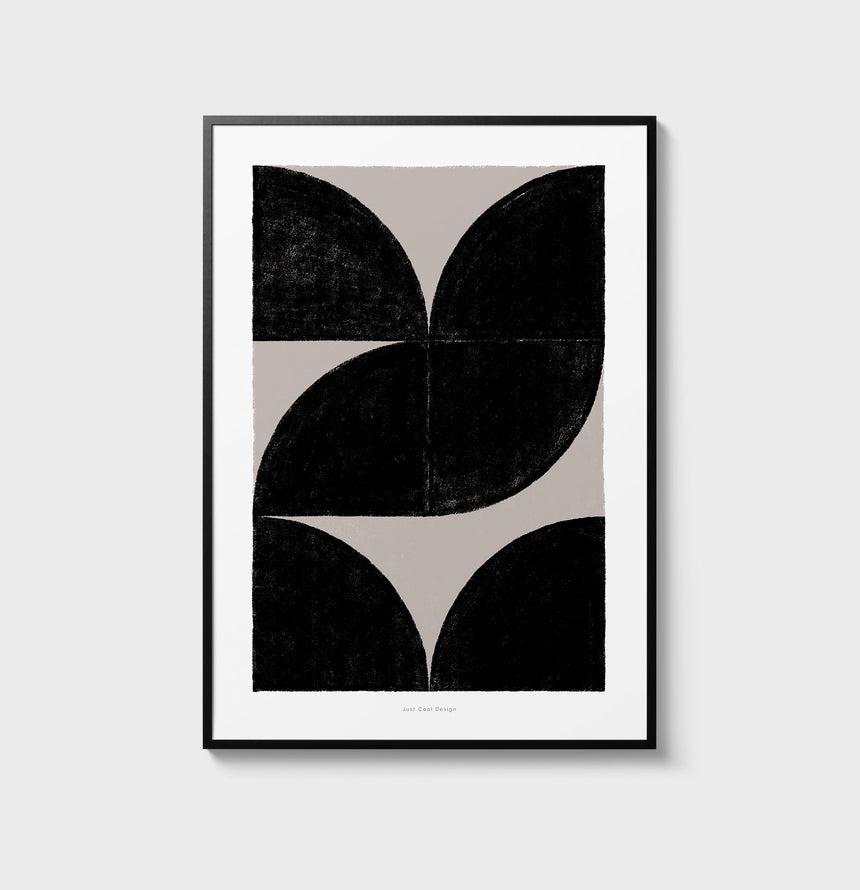 Minimalist black and white art. Abstract painting for living room with warm colors. Nordic abstract art and scandinavian art prints for sale.