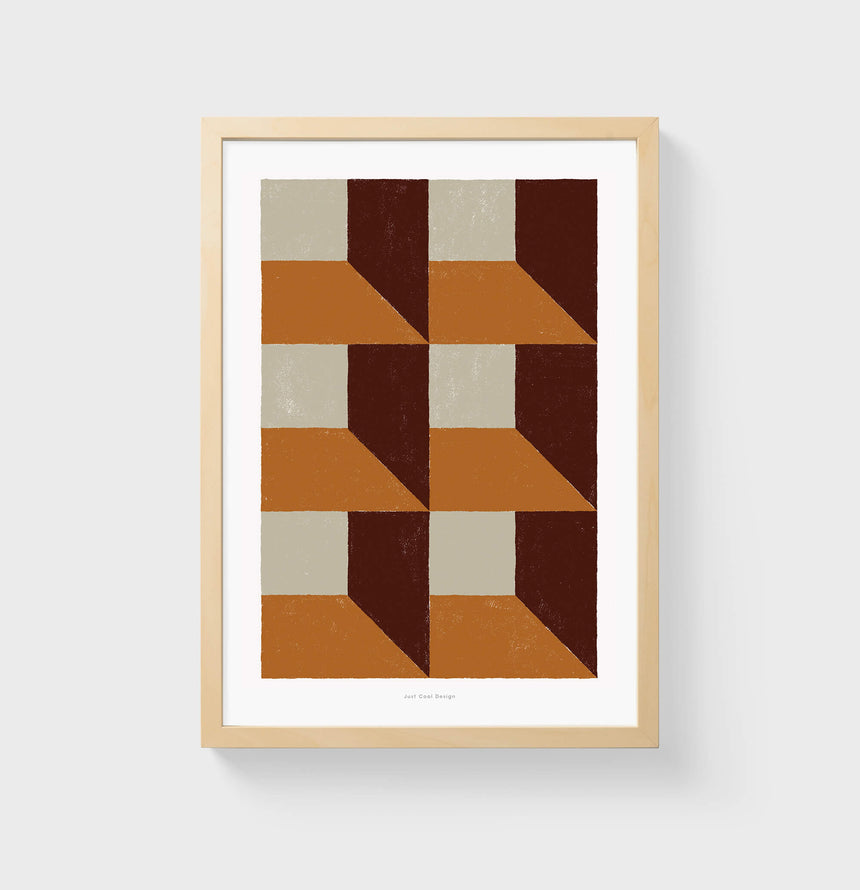 Brown and burnt orange pattern wall art, extra large abstract wall art and living room posters with contemporary minimalist aesthetic.