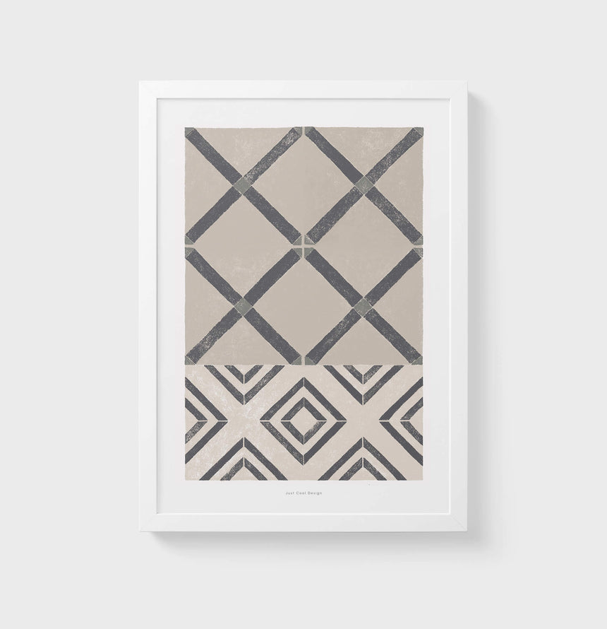 pattern wall art tiles print inspired by modernist Barcelona hydraulic vintage tiles. Beige and warm gray neutral abstract painting for living room.