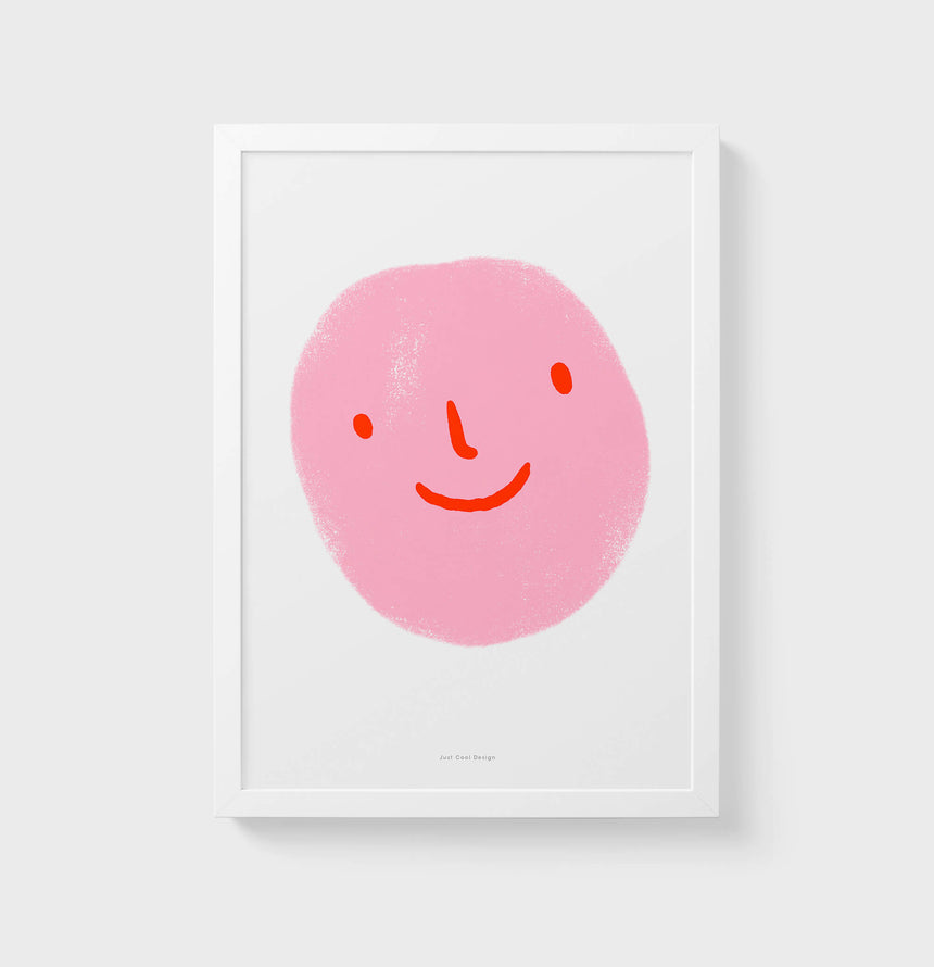 Pink happy emoticon Wall Art Prints
