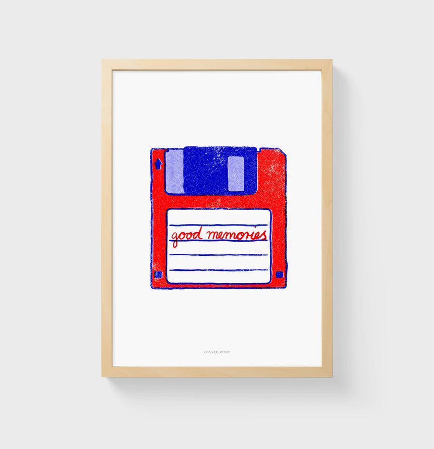 "Floppy disk art illustration with red and blue colors and retro style. Han lettering saying the words ""good memories"". Computer wall art for computer geek, graphic art prints."