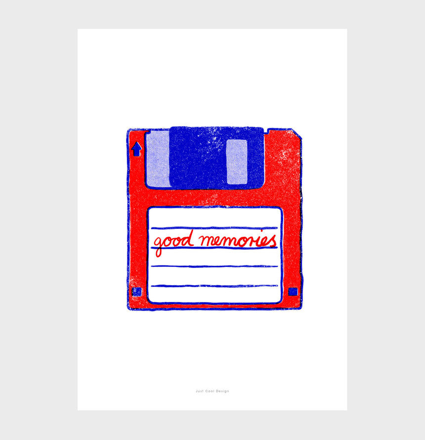 "Floppy disk wall art illustration, retro poster, Floppy disk art saying the quote ""good memories"". Geek wall art"