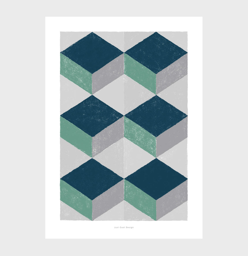 Teal abstract art and geometric shapes art for living room posters. Poster Barcelona tiles print for abstract kitchen art.
