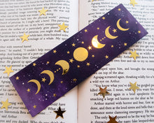 Load image into Gallery viewer, Moon Phases Gold Foil Bookmark