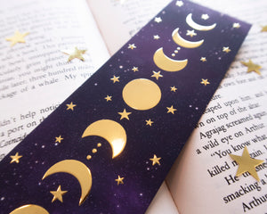 Moon Phases Gold Foil Bookmark