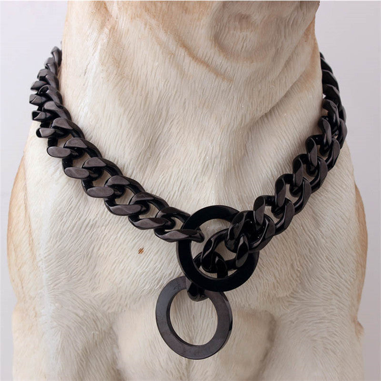 15mm Stainless Steel Thick Gold Chain Pet Collar (Adjustable Length)