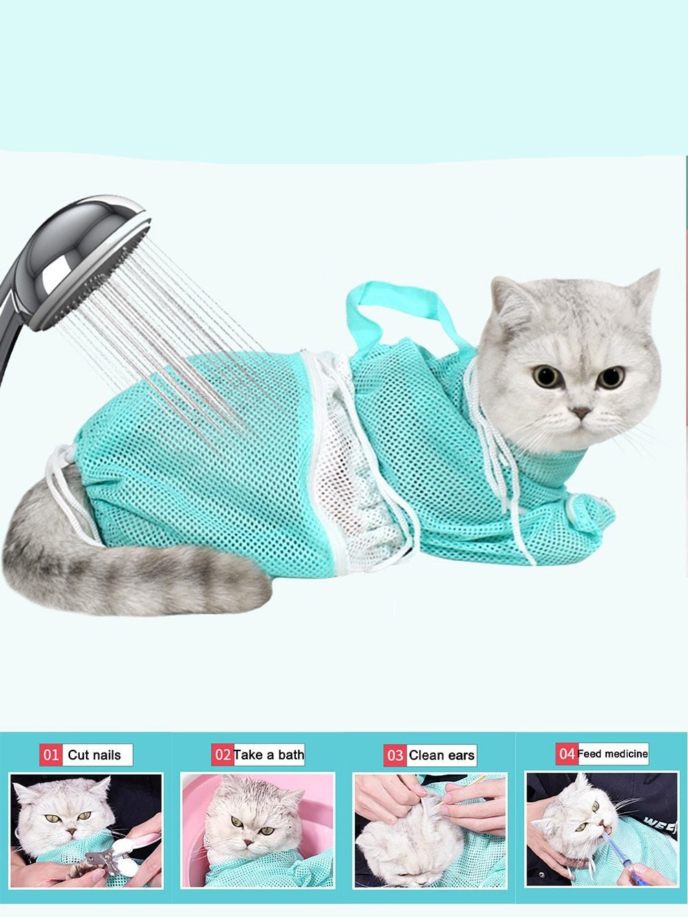 Multi-function Grooming Cat Bath Wash Bag Adjustable