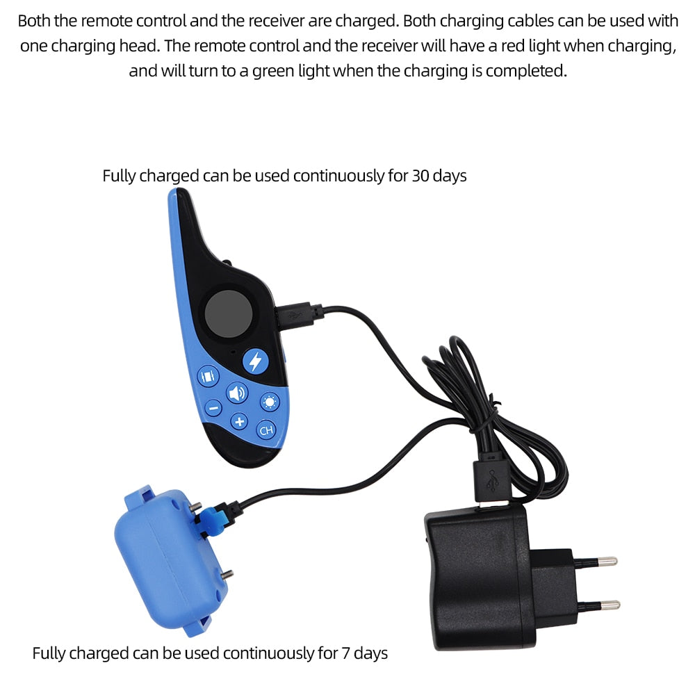 Dog Training Collar Waterproof Rechargeable Shock Sound Vibration Anti-Bark Remote Control For All Size Dogs
