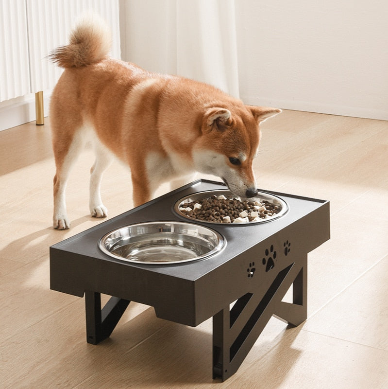 Double Non-Slip Bowl Adjustable Heights Pet Food Feeding Dish Bowls