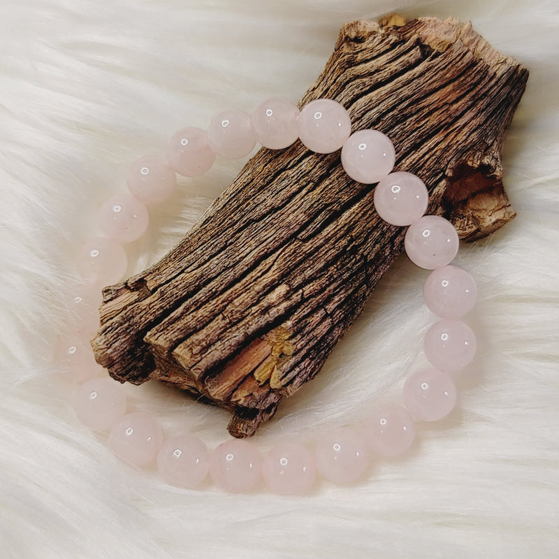 Rose Quartz 8mm Round Beaded Bracelet