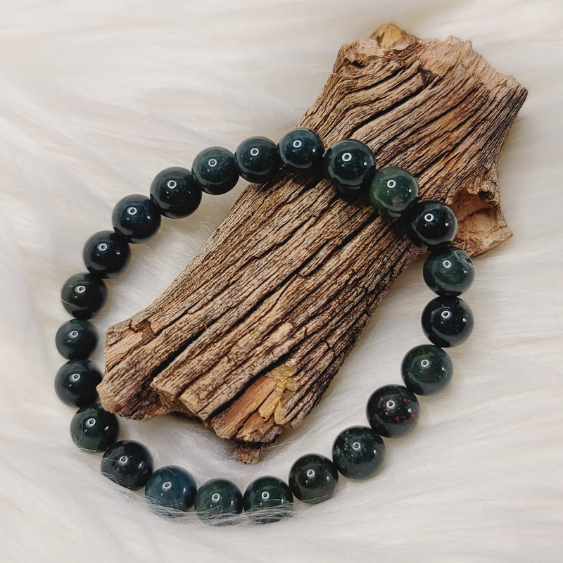 Bloodstone 8mm Round Beaded Bracelet