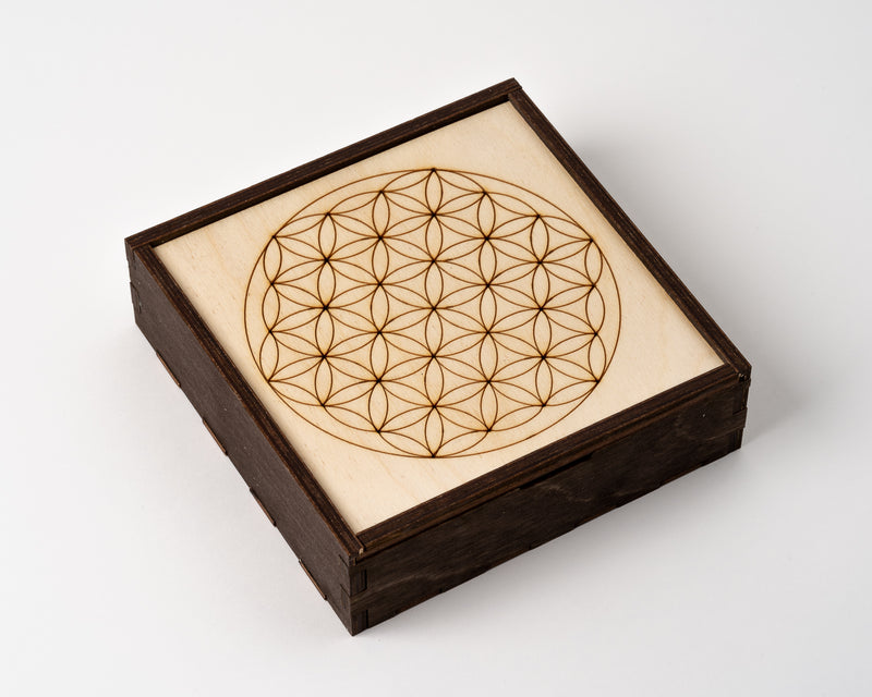 Flower of Life Wood Grid Box