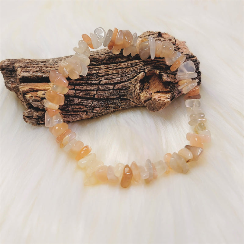 Peach and White Moonstone Chip Stone Bracelet