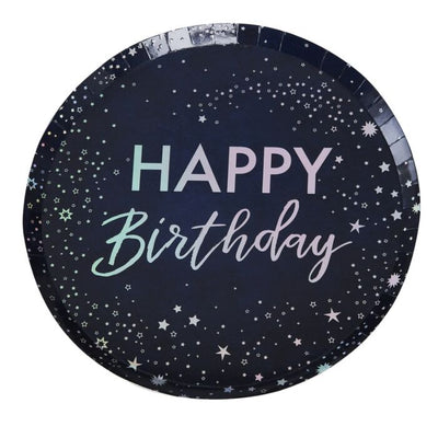 Stargazer Paper Plates Happy Birthday Iridescent - Ralph and Luna Party Shop