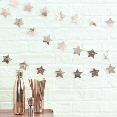 Rose Gold Foiled Star Shaped Christmas Garland - Ralph and Luna Party Shop