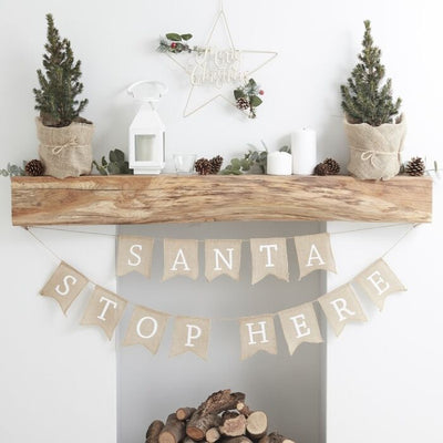 Hessian Burlap Santa Stop Here Bunting - Ralph and Luna Party Shop