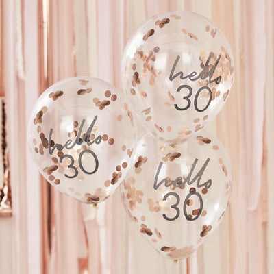 Rose Gold Confetti Filled 'Hello 30' Balloons - Ralph and Luna Party Shop