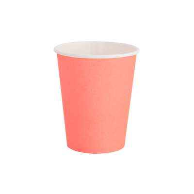 Neon Coral Paper Party Cups - Ralph and Luna Party Shop
