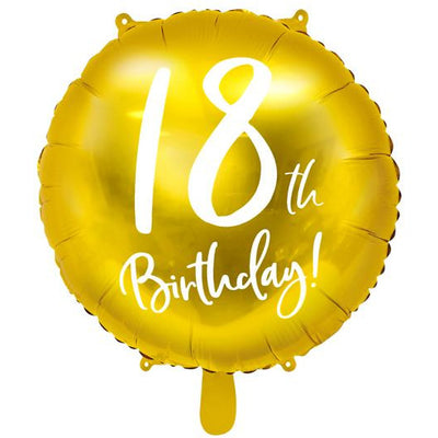 18th Birthday Gold Foil Balloon - Ralph and Luna Party Shop