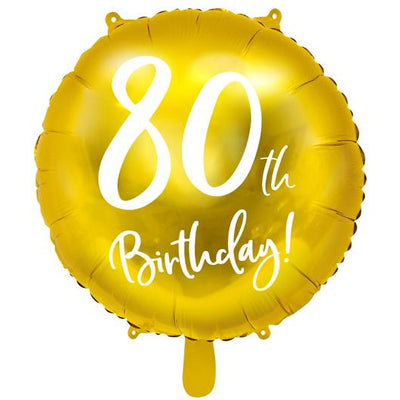 80th Birthday Gold Foil Balloon - Ralph and Luna Party Shop