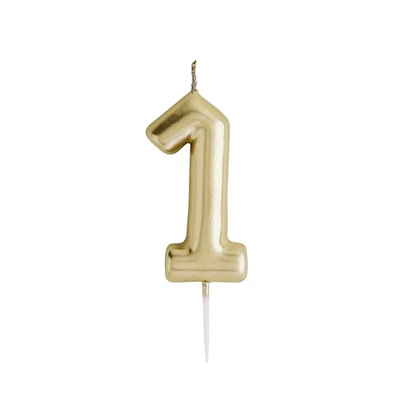 Gold Number Candle 1 - Ralph and Luna Party Shop