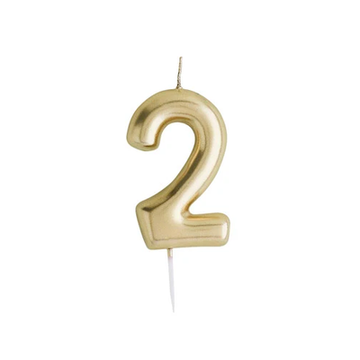 Gold Number Candle 2 - Ralph and Luna Party Shop