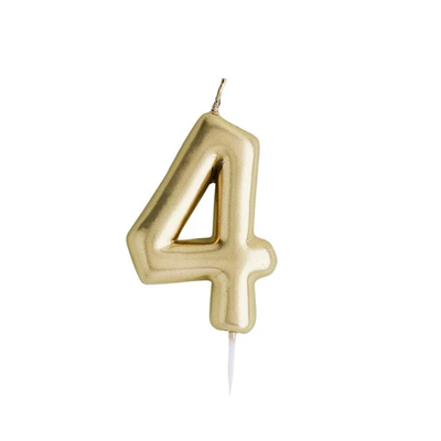 Gold Number Candle 4 - Ralph and Luna Party Shop