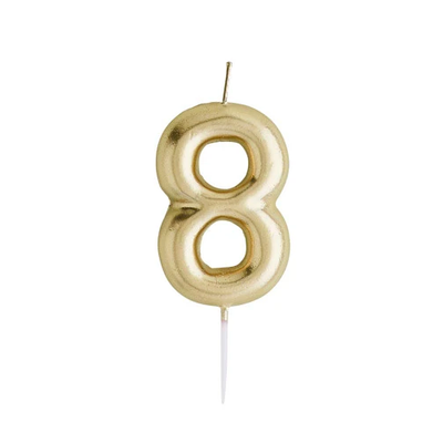 Gold Number Candle 8 - Ralph and Luna Party Shop