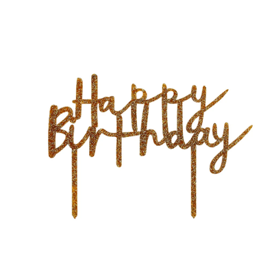 Gold Glitter Acyrlic Happy Birthday Cake Topper - Ralph and Luna Party Shop