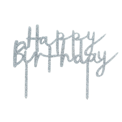 Silver Glitter Acrylic Happy Birthday Cake Topper - Ralph and Luna Party Shop