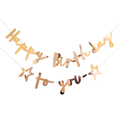 GOLD HAPPY BIRTHDAY TO YOU BANNER - Ralph and Luna Party Shop